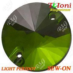 Strass Tuloni 10 pcs Light Peridot Round Sew-On Flat Back