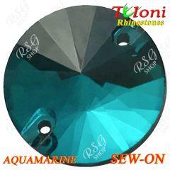 Стразы Tuloni 10 pcs Aquamarine 14 Round Sew-On Flat Back