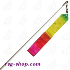 Weißer Stab 60cm & Band 5/6m in Rainbow-2 incl. Griff
