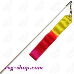 Белая палочка 60 см и лента 5/6 м цв. Yellow-White-Red с грифом